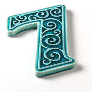 cyfra 7, turkusowa